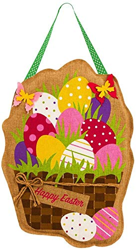 Evergreen Flag Easter Eggs in Basket Burlap Door Decor, 13.5 x 17.5 Inches Happy Easter Rabbit Welcome Banner Garden Flag Hanging Wall Decoration Sign for Happy Easter Party Decorations and Supplies