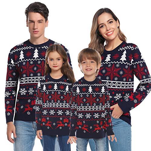 Aibrou Herren Weihnachtspullover Lang Strickpulli Warme Strickpullover mit Rentiermuster, Christmas Sweater Rundhals Pullover für Winter Festlich Unisex
