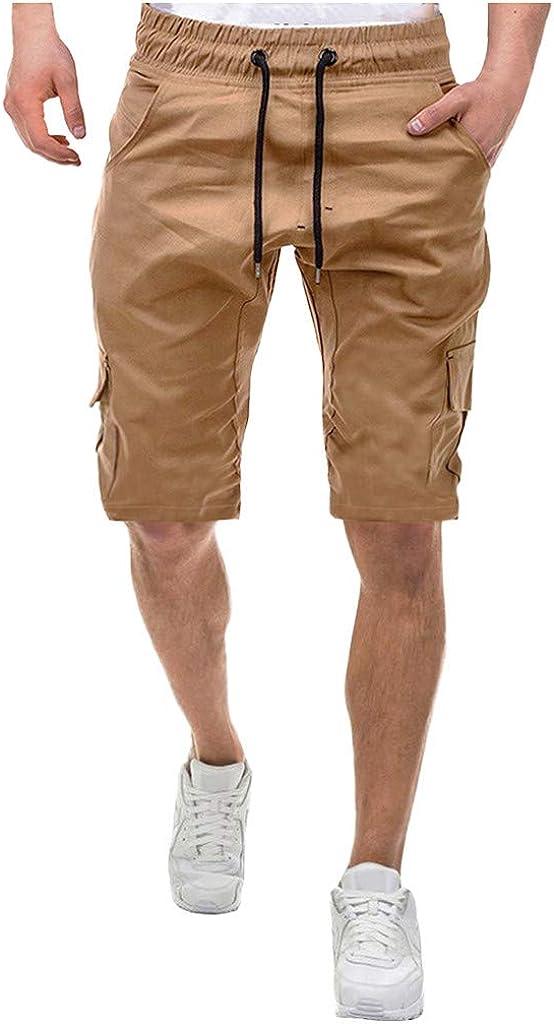 DIOMOR Mens Classic Outdoor Multi Pockets Drawstring Cargo Shorts Fashion Elastic Waist Beach Trunks Hiking Pants