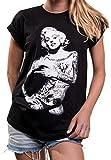 MAKAYA Oversize Top Manga Corta Talla Grande - Marilyn Monroe - Camiseta Tattoo Mujer Negro XL