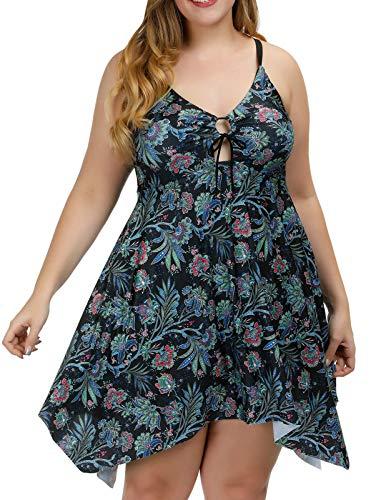 Hanna Nikole Women Plus-Size Flower Print Shaping Body One Piece Swimdress Swimsuit Green 24W