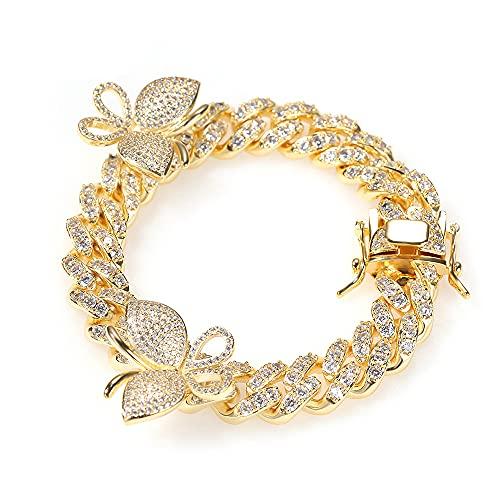Pulsera cubana de mariposa de zirconia con micro incrustaciones de oro de 18 quilates, colgante de mariposa de diamante simulado de circonita completamente helada, gargantilla de cadena de eslabones