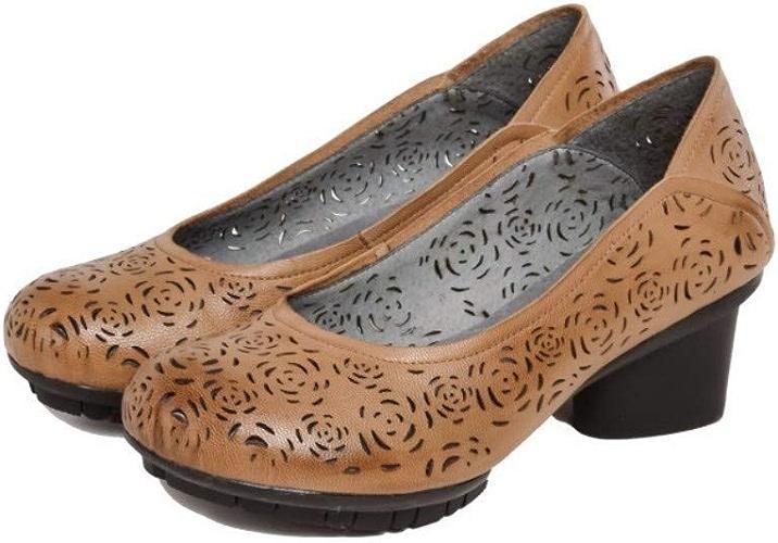 Chaussures Femmes en Cuir Soft Caoutchouc épais Sole Slip on High Heel Plateforme HolFaible Bout Rond bottes Floral Vintage Rétro Design Original marron Handmade MesLes dames Printemps été Sandales Occasi
