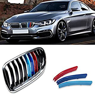 VANJING M-Colored Stripe Grille Insert Trims for BMW 2014-2016 5 Series 528i 535i 550i F10 with M-Performance Black Kidney Grill …