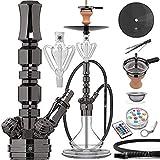 DILAW® TRIPHAN Shisha Edelstahl Black V2A 66cm Hookah Medium + LED Licht | Wasserpfeife Kaminkopf...