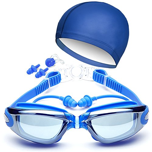 ruipuple HD Waterproof Swim Goggles Suit with Swimming Cap, Clear Anti Fog Shatterproof UV Protection, with Silicone Nose Clip Ear Plugs for Men Women Kids-Best Swim Glasses Blue
