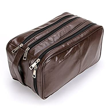 Toiletry Bags, Sumnacon Unisex PU Leather Waterproof Travel Cosmetic Bag Organizer Perfect for Shaving Grooming Dopp Kit & Household Business Vacation with Portable Handle (3 Layer Brown)