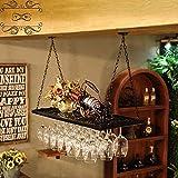 WY&WY Estante De Vino Montado Soporte De Botella De Vino Colgante Estantes De Copas, Cadena De Estante De Vino De Pared Ajustable, Organizador De Estantes De Copa De Vino, Tamaño: 60 X 31 Cm,Negro