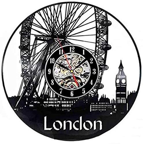 ZZLLL Reloj de Pared de Vinilo Navidad Ciudad de Londres Reloj de Pared de Vinilo Retro Diseño Moderno Decoración escénica en 3D I Love London Reloj de Vinilo Reloj de Pared Decoración del hogar 30cm