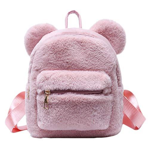 VALICLUD Mini Mochila Mujer Mullido Satchel Bag Cute Plush Bear Ears Bolso de Hombro Monedero Niño Mochila