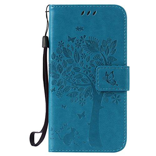 ISAKEN Kompatibel mit Galaxy S5 Hülle, PU Leder Flip Cover Brieftasche Geldbörse Wallet Case Handyhülle Tasche Schutzhülle Etui mit Handschlaufe Strap für Samsung Galaxy S5 Neo - Baum Katze Blau