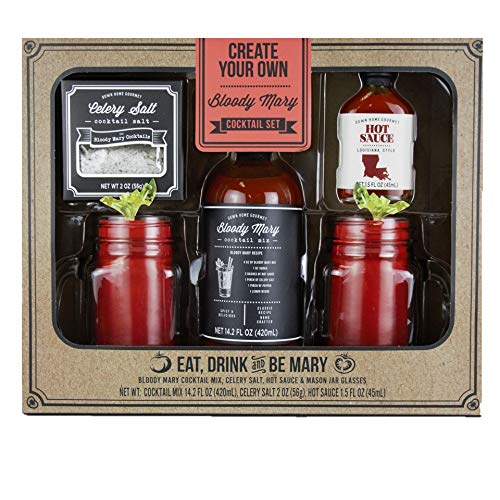 Thoughtfully Gifts, Bloody Mary Cocktail Gift Set, Includes Bloody Mary Mix, Celery Salt, Hot Sauce and 2 Mason Jar Glasses (Contains No Alcohol)
