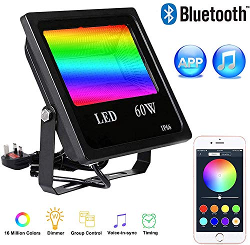 60W RGB Flood Light, Smart APP Control Music Sync Group Timer Dimmable Flood Light,IP66 Waterproof Security Night Light for Garden,Fence, Patio, Yard, Gate