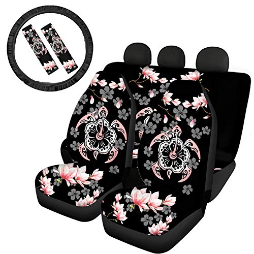 TOADDMOS Hawaiian Style Hibiscus Sea Turtle Pink Black Auto Car Seat Cover Set,Front and Rear Split Bench Protection with Steering Wheel Cover and Seat Belt Pad,Washable and Comfortable