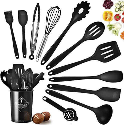 Juego de utensilios de cocina, juego de utensilios de cocina con soporte, utensilios de silicona para cocinar, juego de espátula de cocina para hornear antiadherente y resistente a altas temperaturas (12 P, negro)
