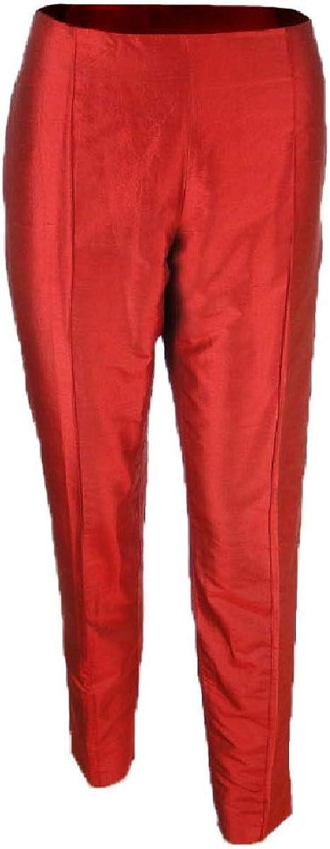 Sutton Studio Women's Taffeta Stitched Crease Slim Ankle Pants