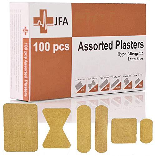 JFA Struktur-Pflaster, 6 Verschiedene Größen, 100 Pflaster pro Packung