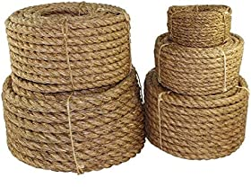 Twisted Manila Rope Hemp Rope (1 in x 50 ft) - SGT KNOTS - Tan Brown Natural Rope - Thick Heavy Duty Rustic Outdoor Cordage for Craft, Dock, Decorative Landscaping, Climbing