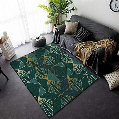 SYMJYJ FußMatten HaustüRmatte Schwermetallwind dunkelgrüner Goldener geometrischer Teppich-100 * 160CM