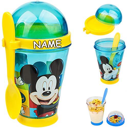 alles-meine.de GmbH Joghurtbecher / Müslibecher - to go - mit Löffel - Disney - Mickey Mouse - inkl. Name - 350 ml - Kinder - BPA frei - Tritan - Kunststoff Plastik - Plaste Glas..
