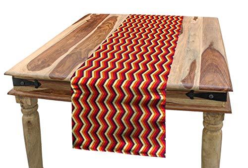 ABAKUHAUS Retro Tischläufer, Zickzack-Chevron-Streifen, Esszimmer Küche Rechteckiger Dekorativer Tischläufer, 40 x 300 cm, Orange Kastanienbraun Gelb Rot