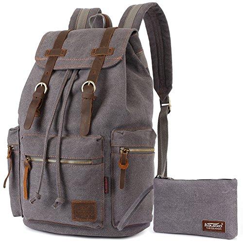 Vintage Rucksäcke,Kaukko Canvas Laptop Rucksack Damen Herren Schulrucksack Daypack Stylisch Backpack für Outdoor Wanderreise Camping mit Großer Kapazität (Grau T02)