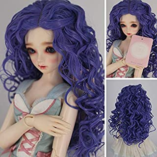 1/3 with 9-10 Inch BJD Doll Wig High Temperature Synthetic Fiber Dark Purple Ombre Kinky Curly Hair Wig BJD Doll Wigs for 1/3 1/4 1/6 BJD SD Doll (T2420&T2512BT4043)