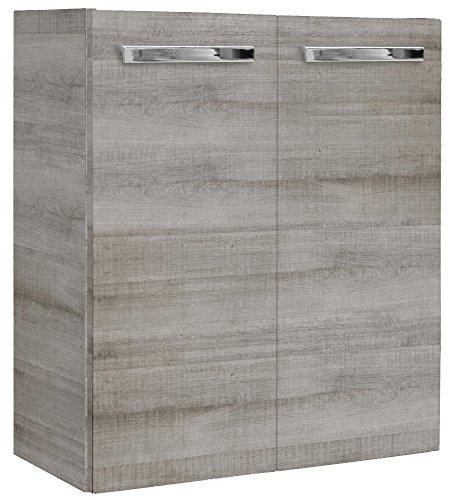 FACKELMANN Mini-Waschtischunterschrank A-Vero/Gedämpfte Scharniere/Maße (B x H x T): ca. 52 x 60 x 24 cm/Schrank fürs kleine Bad und Gäste-WC mit 2 Türen/Korpus: Braun hell/Front: Braun hell