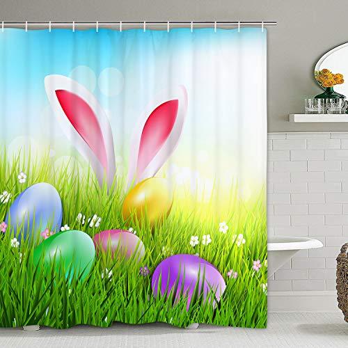 Frohe Ostern Duschvorhang, Frühling Grasland Kaninchen & Ostereier Badvorhänge, langlebig wasserdicht Duschvorhang für Badezimmer