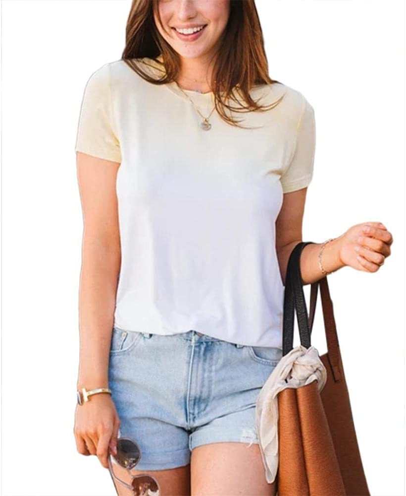 HSHUIJP Sexy Tops for Women Summer Simple Casual Tops Tee Women Short Sleeve Gradient Color Crew Neck Holiday Fashion T Shirts Women, s Vests (Color : Yellow, Size : M)
