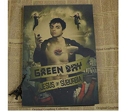 Vintage Green Day Band Poster Retro Kraft Paper Punk Rock Music Star Poster Cafe Bar Decoración de la pared Poster Qt231