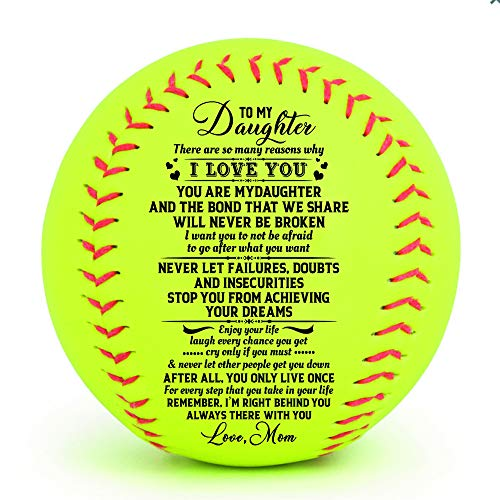 to My Daughter ,,i Want You to not be Afraid to go After What You Want,Never let Failures ,Doubts and Insecurities Stop You from achieving Your Dreams--Love mom--Softball Gifts