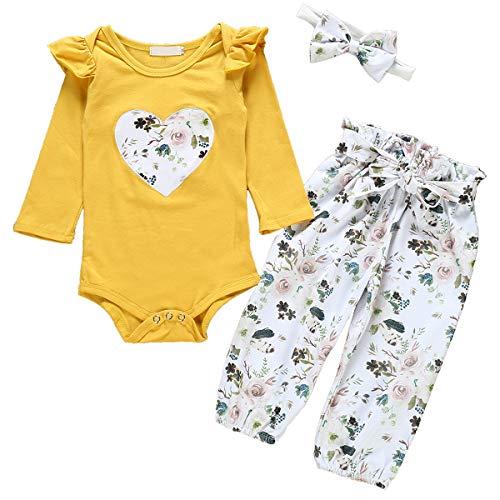 Haokaini 3pcs / Set bébé Nouveau-né a volé Barboteuse Pantalon Floral Bandeau Tenues pour Tout-Petit