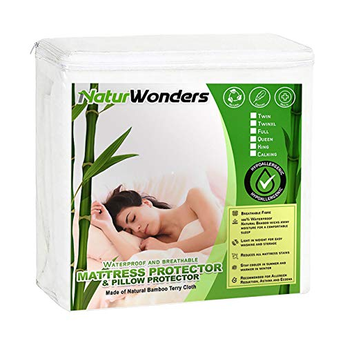 NaturWonders Queen Size Mattress Protector Waterproof Bamboo + 2 Pillow Protectors, Noiseless & Ultra Soft Breathable Bed Mattress Cover for Maximum Comfort & Protection - The Complete Protection