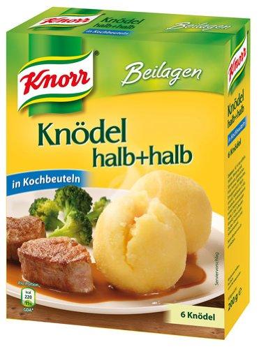 Knorr Beilagen Kartoffelknödel halb+halb, 6 Stück, in Kochbeuteln - 200gr