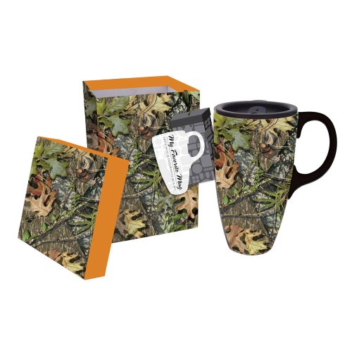 Cypress Home Mossy Oak Camo Ceramic Coffee Travel Mug with Gift Box