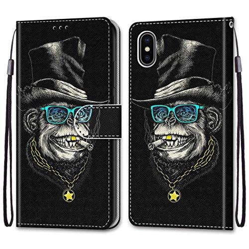 """Nadoli Bunt Leder Hülle für iPhone Xs/X 5.8"""",Cool Lustig Tier Blumen Schmetterling Entwurf Magnetverschluss Lanyard Flip Cover Brieftasche Schutzhülle mit Kartenfächern"""