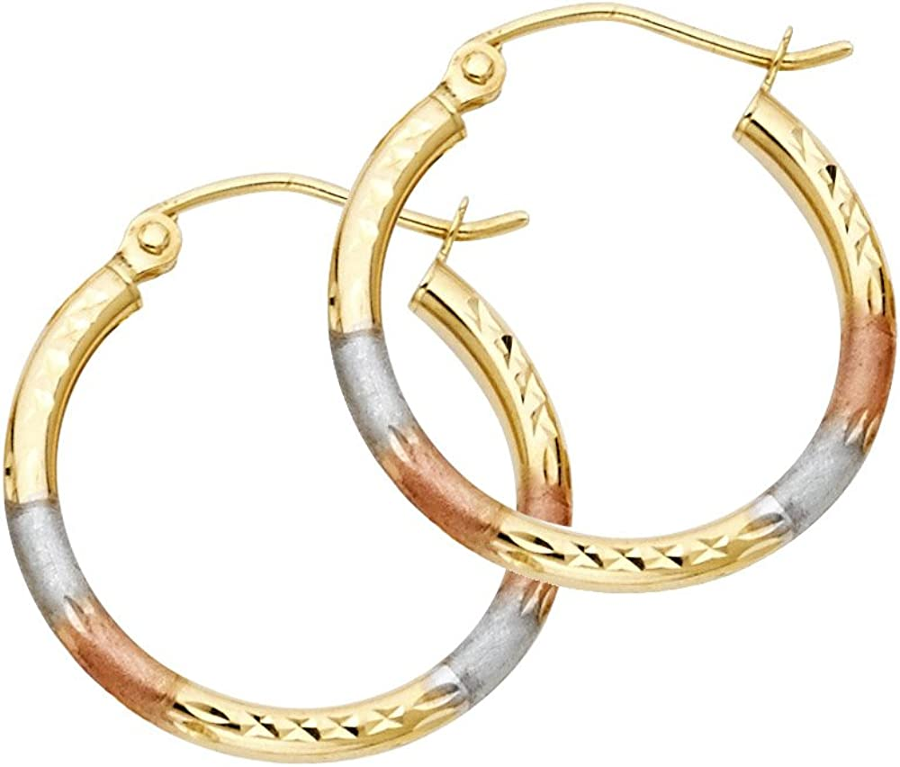 14k REAL Tri Color Gold 2mm Thickness Tube Hoop Earrings - 5 Different Size Available