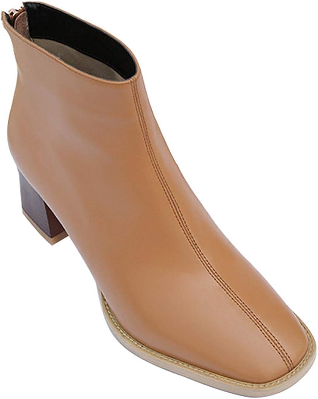 Qiusa Damen Leder Fashion High Heel Stiefeletten Dick Mit Martin Stiefel (Farbe   Gelb2, Größe   35EU)