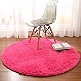 Noahas Luxury Round Rugs for Princess Castle Ultra Soft Play Tent Rug Circular Area Rugs for Kids Baby Bedroom Shaggy Circle Playhouse Carpet Nursery Rugs, 4 ft x 4 ft, Hot-Pink