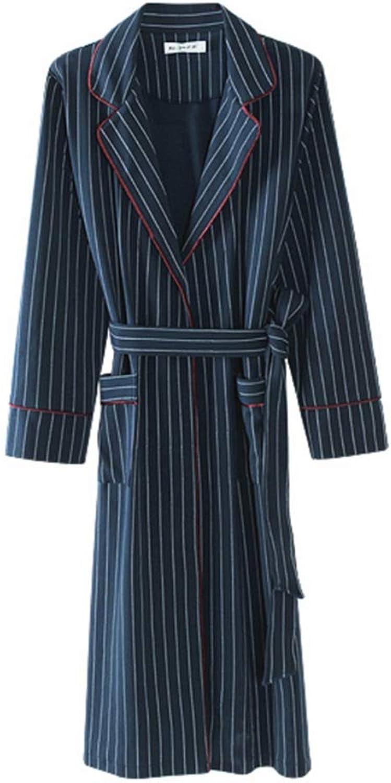 NAN Liang Men's Women's Striped Couple Nightgown Winter Bathrobe Dressing Gown Cotton Soft (color   Female Models, Size   XXXL)