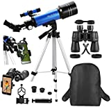MaxUSee Travel Scope with Backpack - 70mm Refractor Telescope & 10X50 HD Binoculars Bak4 Prism FMC...