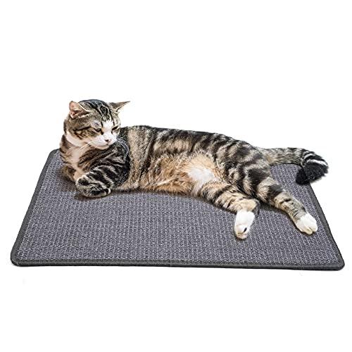 PETTOM Kratzmatte Katze, Kratzteppich Sisal, Kratzbretter Boden rutschfest, Natürlicher Sisalteppich für Katzen (40×60cm, Dunkelgrau)
