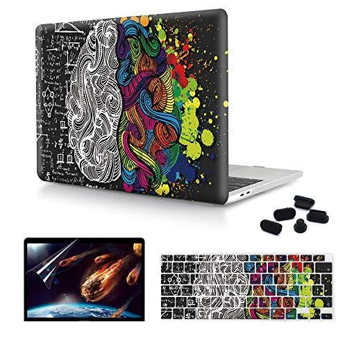 MMDW Funda 4 en 1 MacBook Air de 13 pulgadas, versión 2020 A2179 con pantalla Retina, carcasa rígida de plástico PC y protector de pantalla y enchufe a prueba de polvo, cerebro izquierdo derecho
