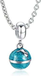 SOUFEEL 925 Sterling Silver Blue Earth Dangle Charms Beads Compatible Necklace Best Gifts for Your Love