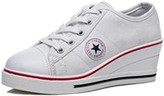 3f5ae898c08ef6 Femme Baskets Mode en Tennis Chaussures Toile Talon Compensé Chaussures de  Sport Fermeture Lacets Taille 40