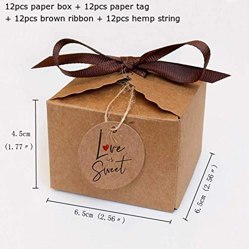 Xinger 12 stks kraftpapier doos lama papier geschenkdoos bruiloft snoep dozen met papieren tags en lint party papier dozen voor verpakking, liefde is zoet