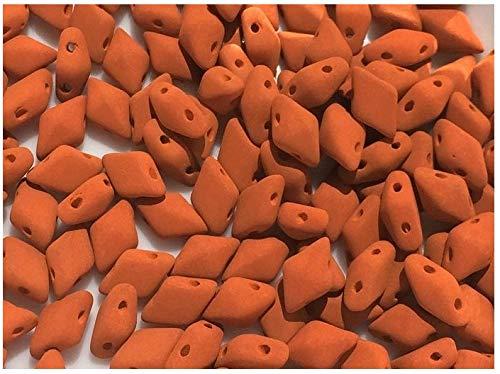 DiamonDuo Beads 30 pcs 5x8 mm, 2 Holes, Pumpkin Pie, Czech Glass