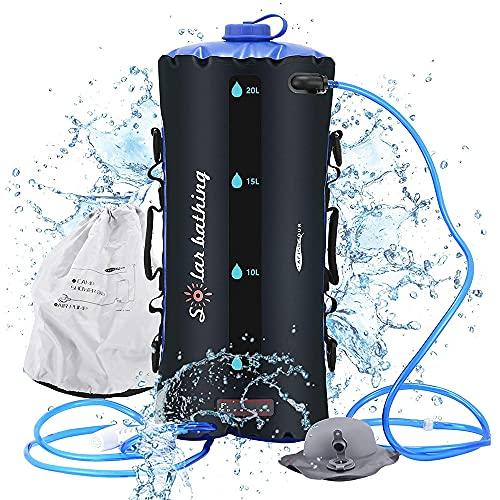 Tragbare solarbetriebene Camping Dusche wasserkanister 20L TPU Tasche druck Schlauch Druckfuß pumpe Duschdüse Temperaturanzeige Faltbarer leichter Wanderkletter-Badetasche für den Außenbereich