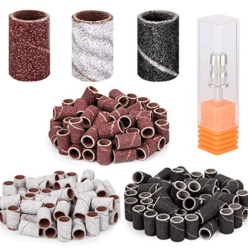 300 Pcs Sanding Bands for Nail Drill,Belle 3 Colors 80 120 180 Grit Efile Sanding Piece Set with Nail Drill Bits